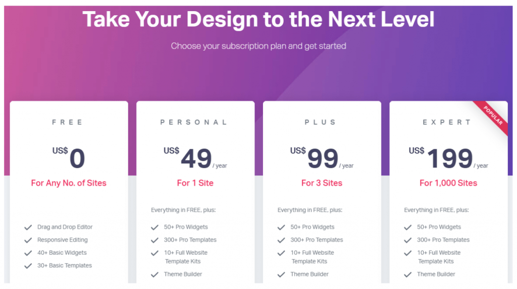elementor pro pricing chart