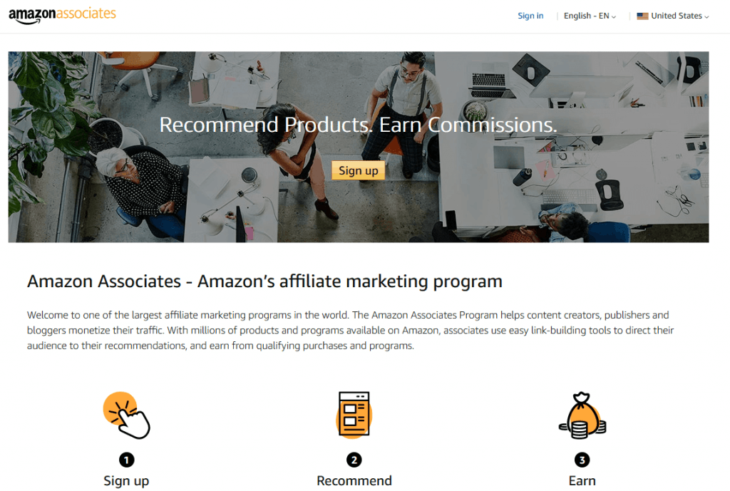 amazon associates home page